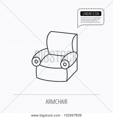 Armchair icon. Comfortable furniture sign.
