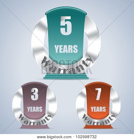 Seven Five And Three Year Warranty Badges