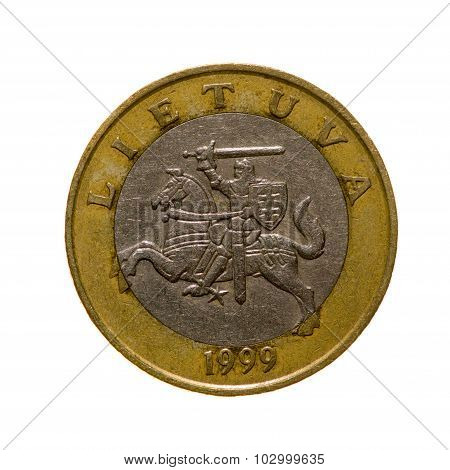 Two Litas Coin Lithuania Isolated On White Background. Top View.