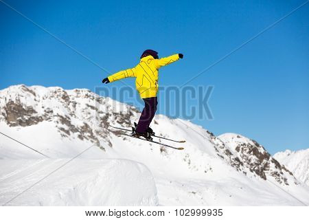 Skier Jumping In Snow Park