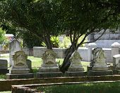 image of yesteryear  - Graveyard row of 4 headstones of yesteryear with beautiful carvings - JPG