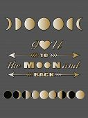 Постер, плакат: Love quote lettering Inspirational quote Valentines day card Love concept Moon phases poster