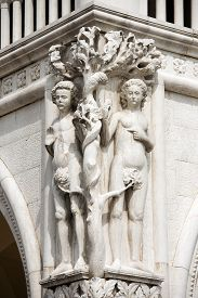 picture of adam eve  - Detail of the Doge Palace with statues of Adam and Eve St - JPG