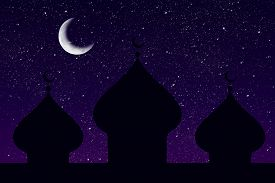 pic of ramazan mubarak  - Silhouette of a mosque and the moon in the starry night - JPG
