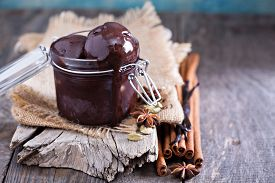 picture of cardamom  - Spicy chocolate sorbet in a jar with cinnamon and cardamom - JPG