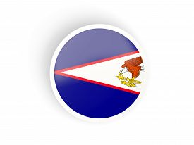 picture of samoa  - Round sticker with flag of american samoa isolated on white - JPG