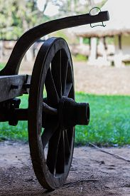image of carriage horse  - Ox and Horse Carriage wheel with countryside background - JPG