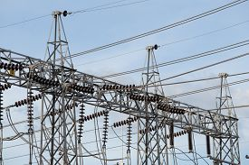 picture of substation  - High voltage electric power substation with sky background - JPG