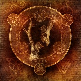 image of triquetra  - Pagan Stag Ceremony with two deer skulls enclosed within a magic circle of mysterious pagan and runic symbols - JPG