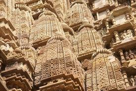 image of kandariya mahadeva temple  - Shikara tower geometric decorations Kandariya Mahadeva Temple at Khajuraho India - JPG