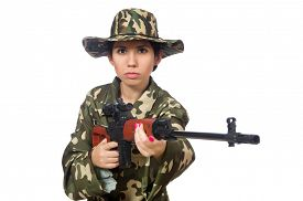 stock photo of sniper  - Woman with sniper weapong isolated on white - JPG