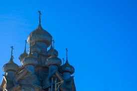 picture of shingles  - The historic Russian Orthodox Churchof the Transfiguration   has 22 domes covered with 30 - JPG