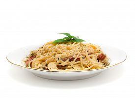 foto of carbonara  - Spaghetti Carbonara pasta isolated on white background - JPG