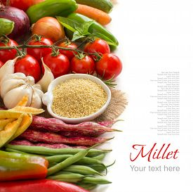 picture of millet  - Raw millet in bowl and vegetables isolated on white - JPG