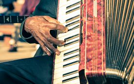 stock photo of accordion  - African musician hand playing fisarmonica  - JPG