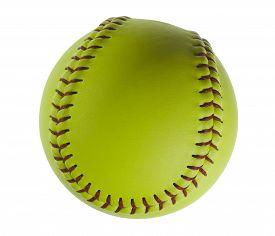 foto of softball  - Softball isolated on white - JPG