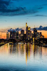 stock photo of frankfurt am main  - View of Frankfurt am Main skyline at sunset in Germany - JPG
