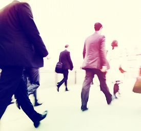 stock photo of commutator  - Commuter Business People Commuter Crowd Walking Concept - JPG