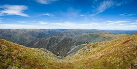 stock photo of bogong  - Panorama of the Victorian alps Australia in summer from the summit of Mt Feathertop - JPG
