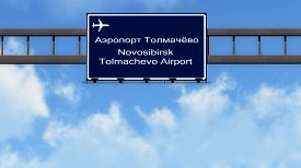 foto of novosibirsk  - Novosibirsk Russia Airport Highway Road Sign 3D Illustration - JPG