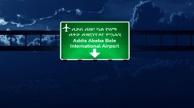 foto of ethiopia  - Addis Ababa Ethiopia Airport Highway Road Sign at Night 3D Illustration - JPG