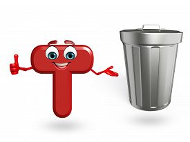 stock photo of dustbin  - 3d rendered illustration of alphabet T Cartoon Character with dustbin - JPG