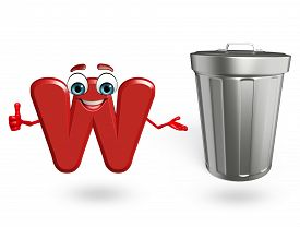 pic of dustbin  - 3d rendered illustration of alphabet W Cartoon Character with dustbin - JPG