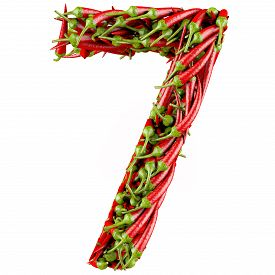 picture of number 7  - Number 7 made from red pepper - JPG