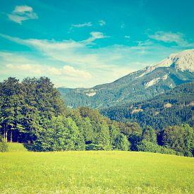 foto of farmhouse  - Farmhouse in the Bavarian Alps Germany Instagram Effect - JPG