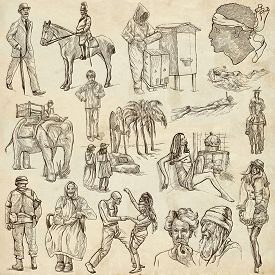 picture of freehand drawing  - UNITED COLORS OF HUMAN RACE People around the World  - JPG