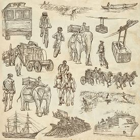 picture of freehand drawing  - TRANSPORT Transportation around the World  - JPG