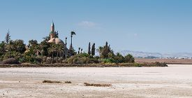 pic of larnaca  - Hala sultan Tekke Muslim shrine mosque located near the salt lake of Larnaca in Cyprus  - JPG