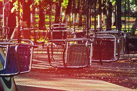 stock photo of merry-go-round  - Vacant merry - JPG