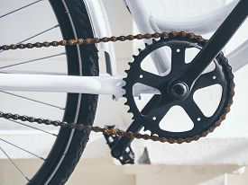 foto of pedal  - Bicycle Parts Crank and Rusty chain set with pedal - JPG