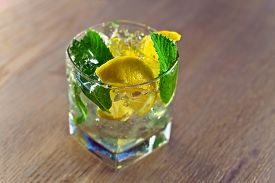 pic of peppermint  - cocktail with lemon ice and peppermint leaves - JPG