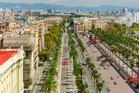 image of prospectus  - Aerial view over Passeig de Colom or Columbus avenue  from Christopher Columbus monument  in Barcelona - JPG