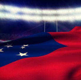 foto of samoa  - Waving flag of Samoa against rugby stadium - JPG