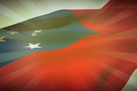 pic of samoa  - Waving flag of Samoa against linear background - JPG