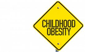 stock photo of obese children  - Childhood Obesity sign isolated on white background - JPG