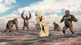 stock photo of thinkers pose  - Computer generated 3D illustration with a thinker and four gorillas - JPG