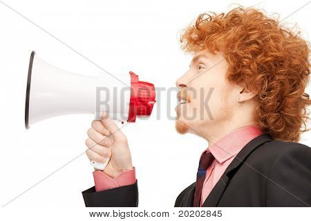 bright picture of handsome man with megaphone