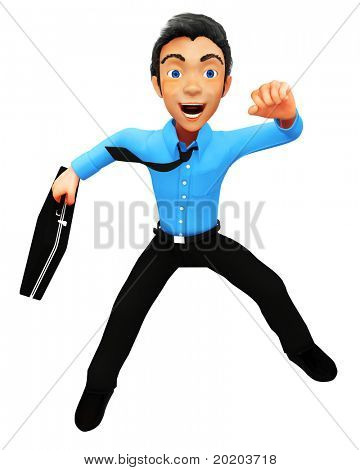 3D successful business man jumping - isolated over a white background