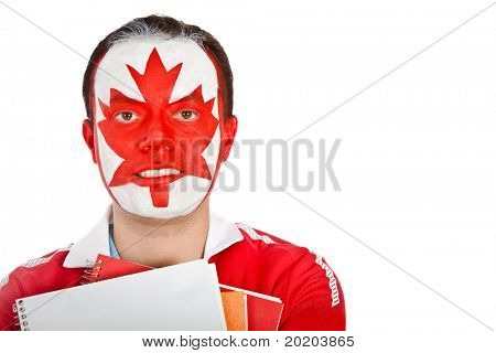 Canadian student with the flag painted on his face - isolated