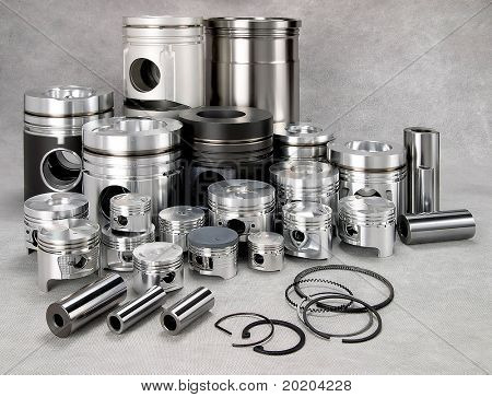 a set of metal pistons