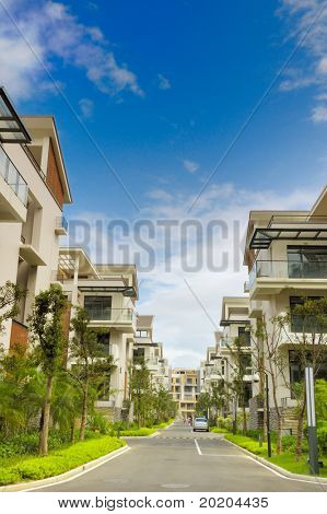 A road and two rows of new terrace houses beside it in the southeast of China,these homes are aimed at the rich buyer and buy to live in  holiday.