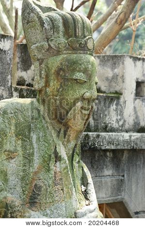 Old stone carving:ancient civilian.The statues usually were put on the both side of ancient temple's aisle