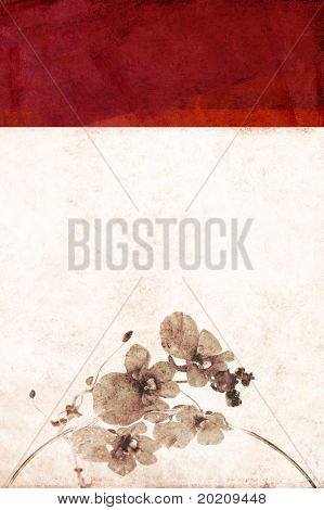 geometric red background image with interesting earthy texture and floral elements