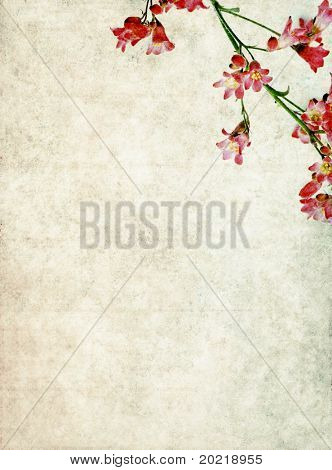 lovely background image with interesting earthy texture, red floral elements and plenty of space for text