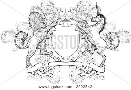 Monochrome Lion And Unicorn Coat Of Arms