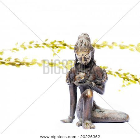 lovely indian figure and flora against white background (background deliberately blurry)